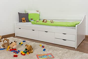 Single Bed / Storage Bed Solid Pine Wood, In A White Paint Finish 94,
