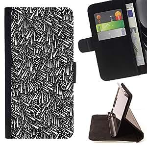 For HTC One Mini 2 M8 MINI Case , Modelo abstracto del papel pintado Negro- la tarjeta de Crédito Slots PU Funda de cuero Monedero caso cubierta de piel