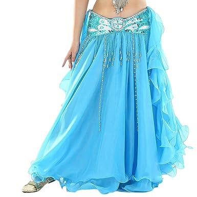a2e7d7c5155e Guiran Femme Couleur Unie Haute Fente Longue Jupes De Danse Costume  Mousseline De Soie Jupe sans Ceinture Bleu 2  Amazon.fr  Vêtements et  accessoires