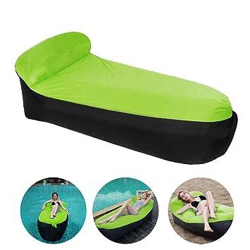 Etmury Sofa Hinchable, Air Sofa con Cabecera 195 * 70 * 55 cm, Sofá Impermeable al Aire Libre para Acampar en la Piscina de la Playa, Sofá Tumbona de ...