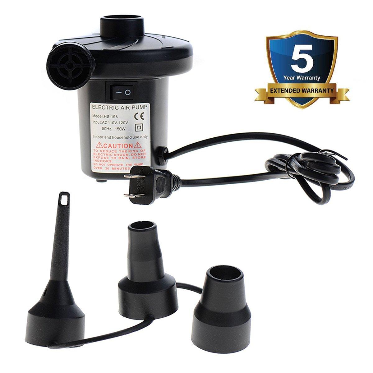 Electric Air Pump Air Mattress Pump 110V AC Quick-Fill Pump for Inflatables Pool Floats,3 Nozzles for Replacement