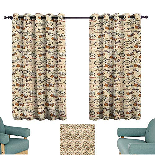 (DONEECKL Decor Curtains Bicycle Hipster Gentlemans Vintage Accessories Bicycle Camera Bow Tie Handlebar Moustache Blackout Draperies for Bedroom Living Room W72 xL45 Multicolor)