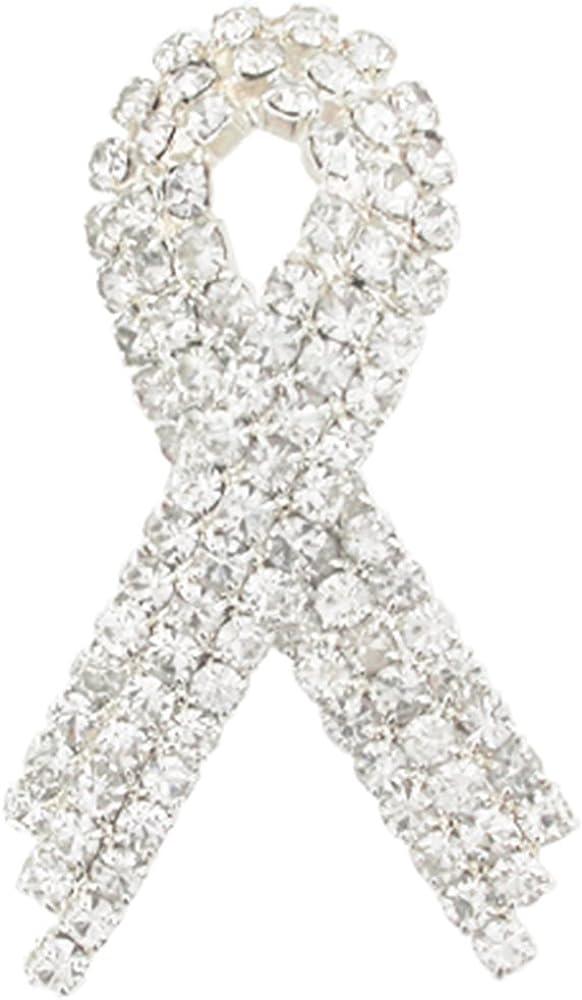 PinMart Clear Rhinestone Crystal Awareness P Lapel Ribbon San Rare Diego Mall Brooch