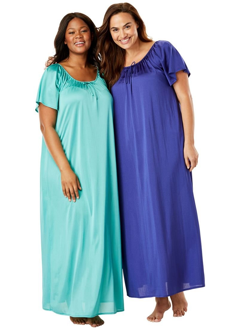 Only Necessities Women's Plus Size 2-Pack Long Nightgown Set Classic Red