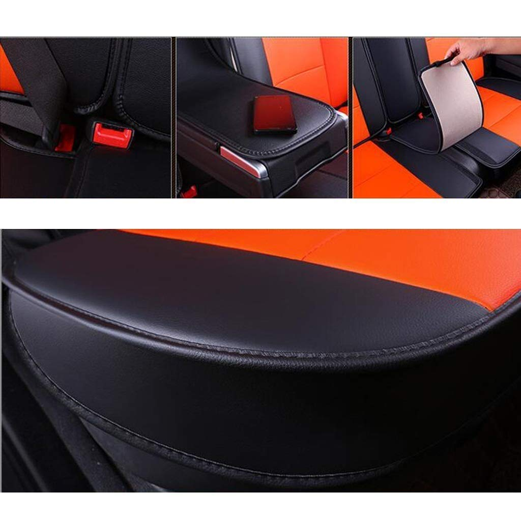 KBZW Car Seat Cover Sets Universal Leather Car Seat Cushion Protector Full Set 5 Seaters Side Airbag Compatible with Headrest and Lumbar Pillow