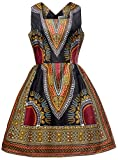 Shenbolen Woman African Print Dress Dashiki Traditional Dress Party Dresses (X-Large, D)