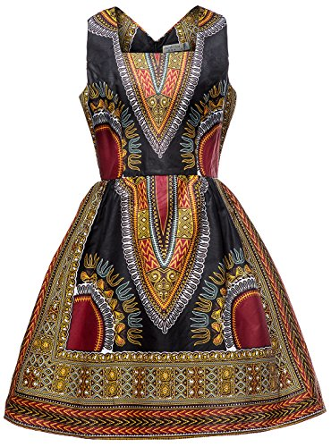 Shenbolen Woman African Print Dress Dashiki Traditional Dress Party Dresses (Large, D)