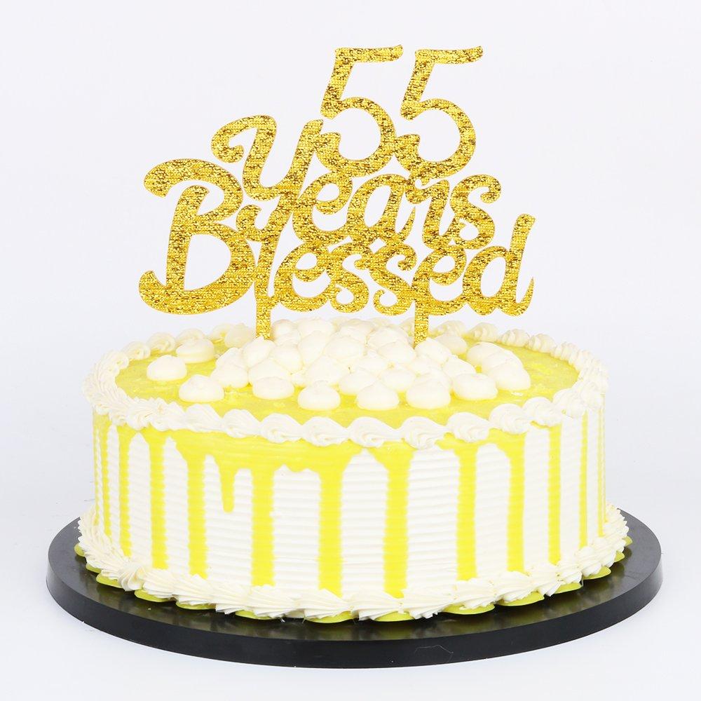 Amazon Palasasa Gold Glitter Acrylic 55 Years Blessed Cake