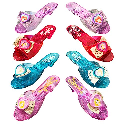 Disney Princess Shoe Set -- 4 Deluxe Dress Up Pairs for Girls Toddlers, Shoe Boutique (Elsa, Anna, Ariel, Rapunzel) (4 Pairs, Super Set)