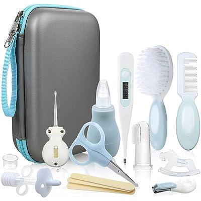 Lictin Set para Cuidado del Bebé - 15 Piezas Kit de Aseo para Bebés con Cuchara de Oreja con LED Cepillo de Pelo y Peine,Cortador de Uñas Cepillo de Dientes de Dedo para Viaje y el Uso Diario (Azul)