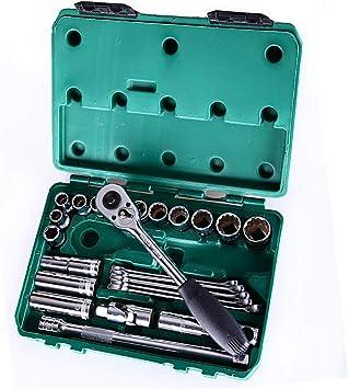 Juego de herramientas para reparación de automóviles, Juego de 25 llaves de trinquete, Manija giratoria, Estuche del conductor, Vanadio cromado, Kit de herramientas mecánicas para automóviles: Amazon.es: Bricolaje y herramientas
