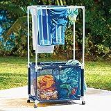 Swimming Pool Towel Bar/ Laundry Hamper w/ Wheels