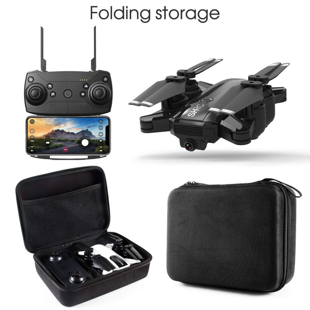 Fullwei Drone x pro 5G Selfi WIFI FPV GPS With 1080P HD Camera Foldable Brushless RC Quadcopter with Carry Box +Manual+Propeller+ Lipo Battery+Transmitter (BLACK)