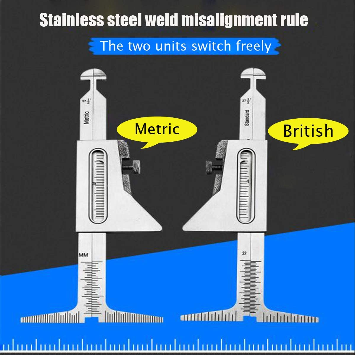 JJDD Metric Welding Taper Gauge Gage Set Test Welding Taper Gap Gauge Depth Ruler Stainless Steel Set with Hi Lo Welding Gauge Gage Test Ulnar Welder Inspection Gauge Tool kit for Welding Measurement