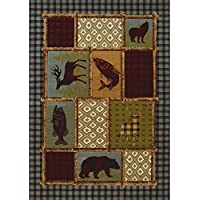 27x42 Red Beige Fish Deer Bear Wolf Wildlife Printed Runner Rug, Indoor Outdoor Animal Pattern Living Room Rectangle Carpet, Southwest Cabin Themed, Synthetic Hunting Wild Nature Lodge Cottage