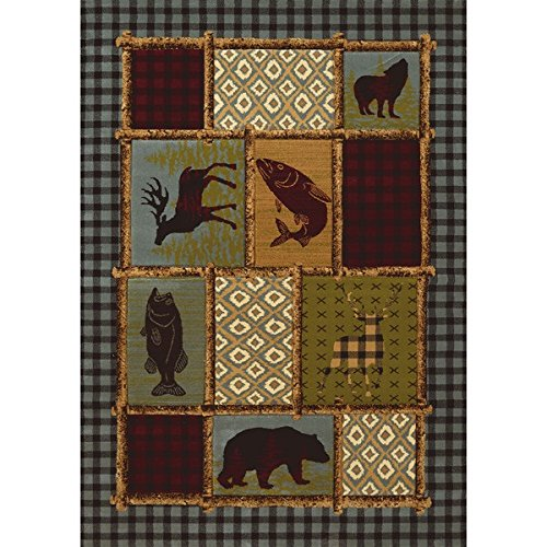 2'7''x4'2'' Red Beige Fish Deer Bear Wolf Wildlife Printed Runner Rug, Indoor Outdoor Animal Pattern Living Room Rectangle Carpet, Southwest Cabin Themed, Synthetic Hunting Wild Nature Lodge Cottage