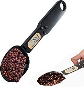 Aichhe Digital Spoon Scale, 500g/0.1g Digital Measuring Spoon, Coffee Spoon as Kitchen Scale Used for Milk, Tea, Flour, Spices and Seasoning, with LCD Display, Suit for Dogs Food (Black)