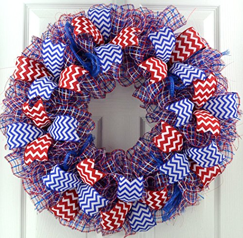 Fourth of July Wreath | 4th of July Door Wreath | Independence Day Decor | Red White Royal (Seasonal Door)