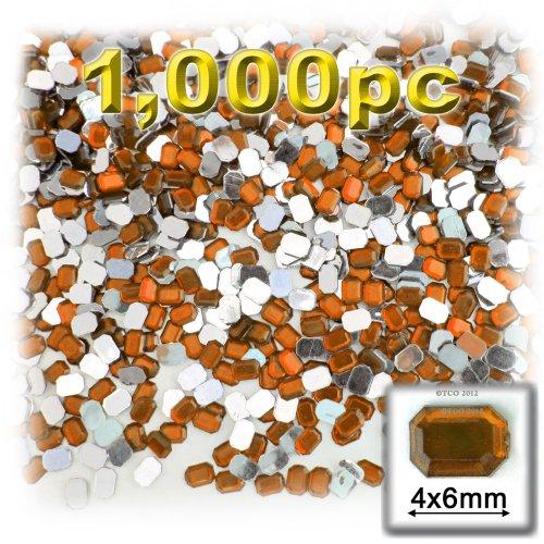 長方形の八角形Craftsコンセント1000-pieceアクリルアルミ箔フラットバックラインストーン、4by 6mm、オレンジの商品画像