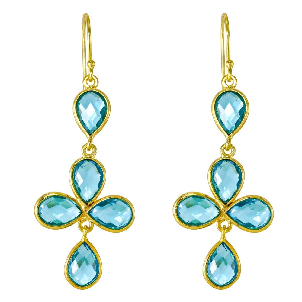 Blue Topaz Quartz 18k Gold Plated 925 Sterling Silver Dangle Earrings