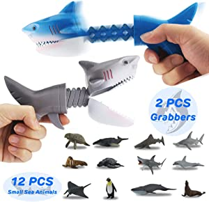 GreenKidz 2PCS Hungry Shark Grabber Toys with 12PCS Small...