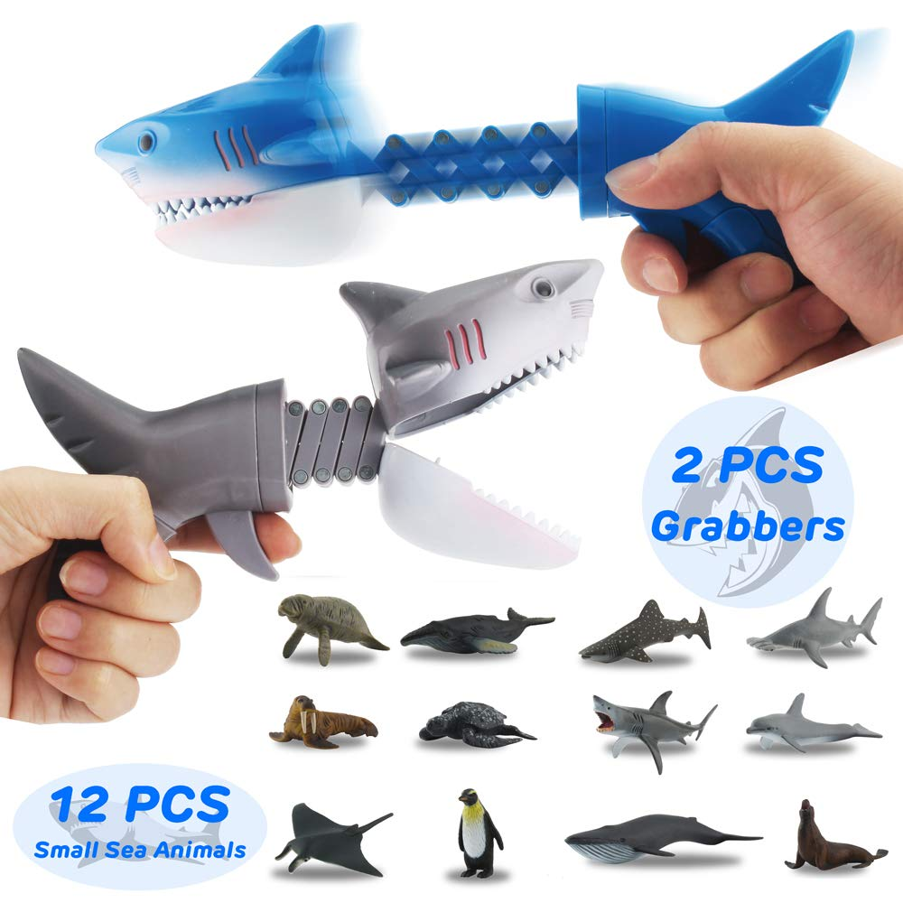 GreenKidz 2PCS Hungry Shark Grabber Toys with 12PCS Small Sea Animal Figures Playset Extending Grabber Claw Game Snapper Pick Up Claw Novelty Gift Party Favors for Kids