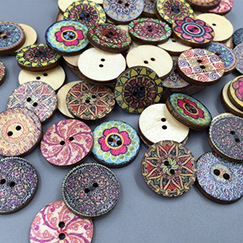 Yamalans 100x Mixed Vintage Colorful Flowers Wood Buttons Scrapbooking Sewing Craft 20mm