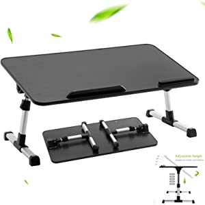 "Home Office Lap Desk, Laptop Bed Tray Table, 23.6"" Adjustable Laptop Desk, Foldable Laptop Stand for Working, Writing, Gaming and Drawing, Wooden Black Top and Aluminum Alloy Legs, Right-Handed"