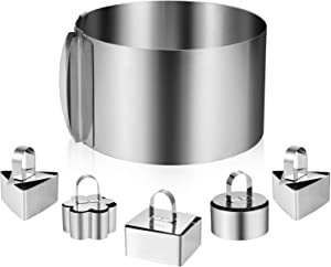 XMW 6 Pack Stainless Steel Cake Rings, Including 6 to 12 Inch Cake Mold Ring 1 Pcs And 3 Inch Cake Mousse Ring (1 Rings,1 Pushers) 5 Pcs for Baking, Cake Mousse Cooking Mold or Cake Cutting.