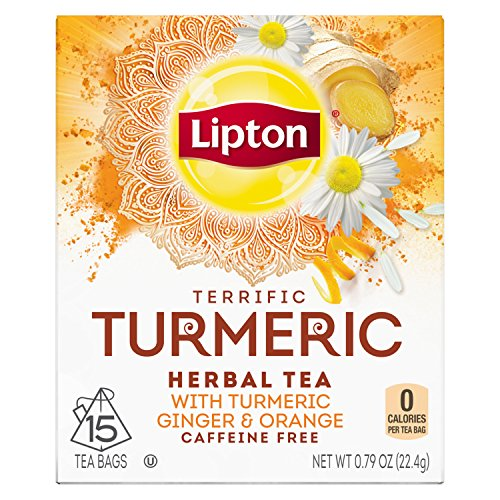 Lipton Herbal Tea Bags, Terrific Turmeric, 15 Count, Pack of 4