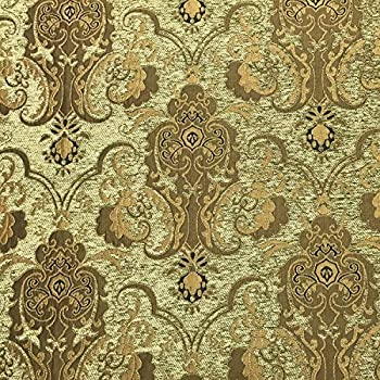 Image of Fabric Chenille Upholstery Drapery Bedding Cream & Gold Damask 50 Yards Full ROLL/Bolt (American Drapery Shop) Home and Kitchen