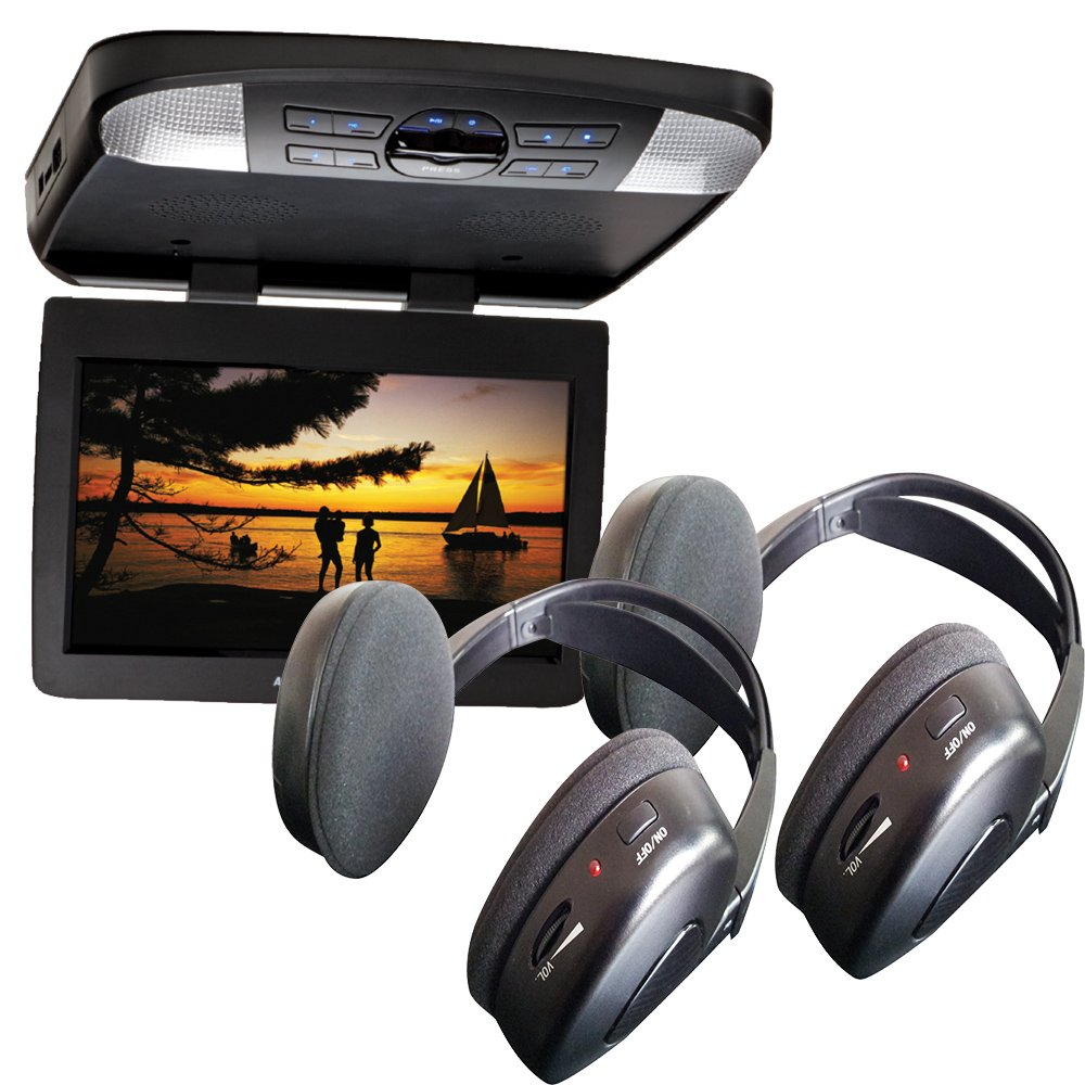 Audiovox AVXMTG13UHD 13'' LED Overhead DVD Player w/ 2 Wireless IR Headphones