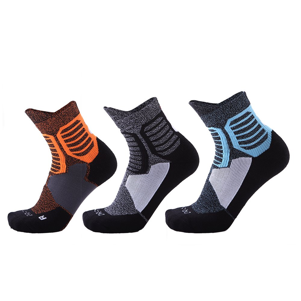 Men's Low Top Sports Socks Best Basketball Running Bicycle Badminton Tennis Hiking Training Travel (3 pairs)