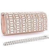 Woman Glittery Clutch Evening Bag Rhinestone Paillette Handbag Shoulder Bag (Apricot Pink 1)