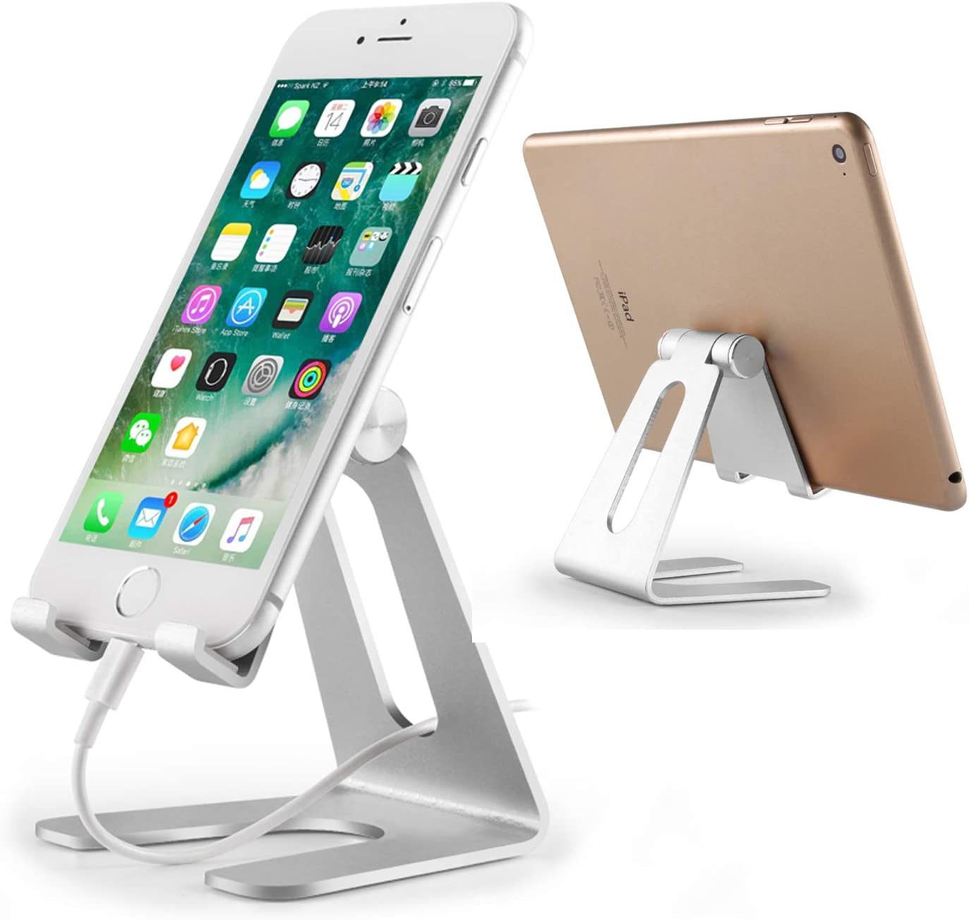 Adjustable Phone Stand for Desk, Tablet Stand Holders, Cell Phone Stands, Mobile Stand, Desktop Display Stand for Mobile Phone iPad Mini Air Samsung Tablet (Silver)