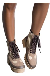 18707d253669 CAPE ROBBIN Cape Robbin Lace Up Lug Sole Chunky Heel Paneled Military  Combat Boots
