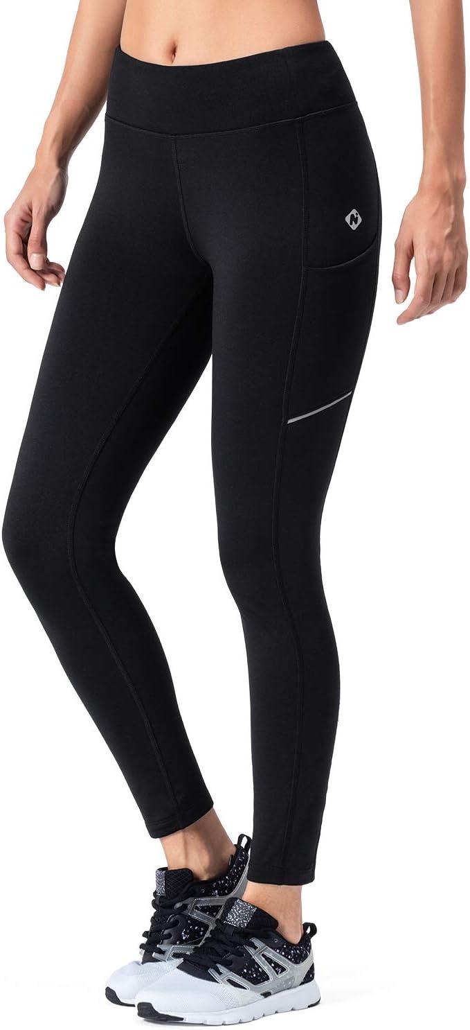 NAVISKIN Pantalones de Forro Polar Mujer Yoga Pilates Mallas Deportivas Leggings Largos Bolsillos Elástico Transpirable Training Running Fitness Negro