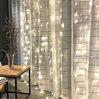 Twinkle Star 300 LED Window Curtain String Light for Wedding Party Home Garden Bedroom Outdoor Indoor Wall Decorations (White)