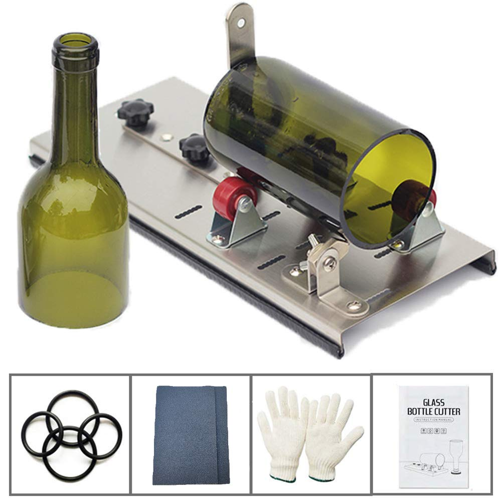 millet16zjh Bottle Cutter,Glass Stainless Steel Bottle Cutter Planting Machine with Abrasive Paper Gloves by millet16zjh