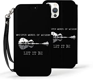 Whisper Words of Wisdom Guitar Case for iPhone 12 Pro for Women Men Leather Wallet Case with Card Holder Wrist Strap