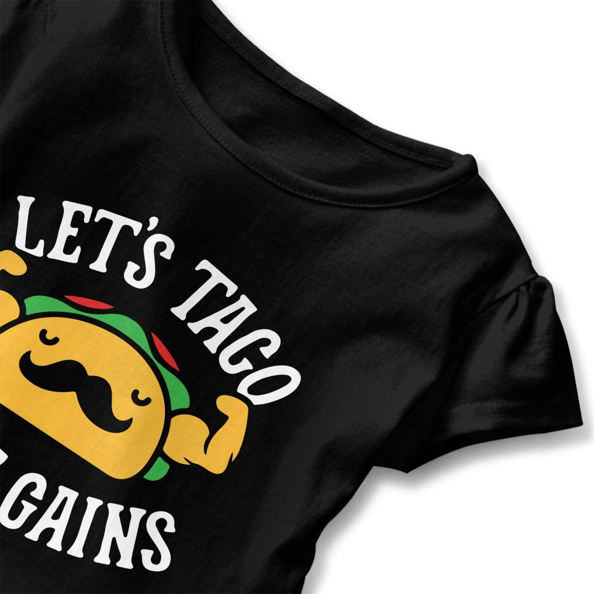 Girls Boys Lets Taco Bout Gains Personality Short Sleeve Ruffles T-Shirt Summer Clothes for 2-6 Years Old