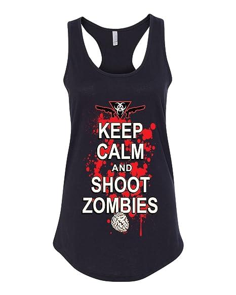 011fa174 Amazon.com: Keep Calm And Shoot Zombies Women's Tank Top, Halloween Tank Top,  Funny Zombie Tank Top: Clothing