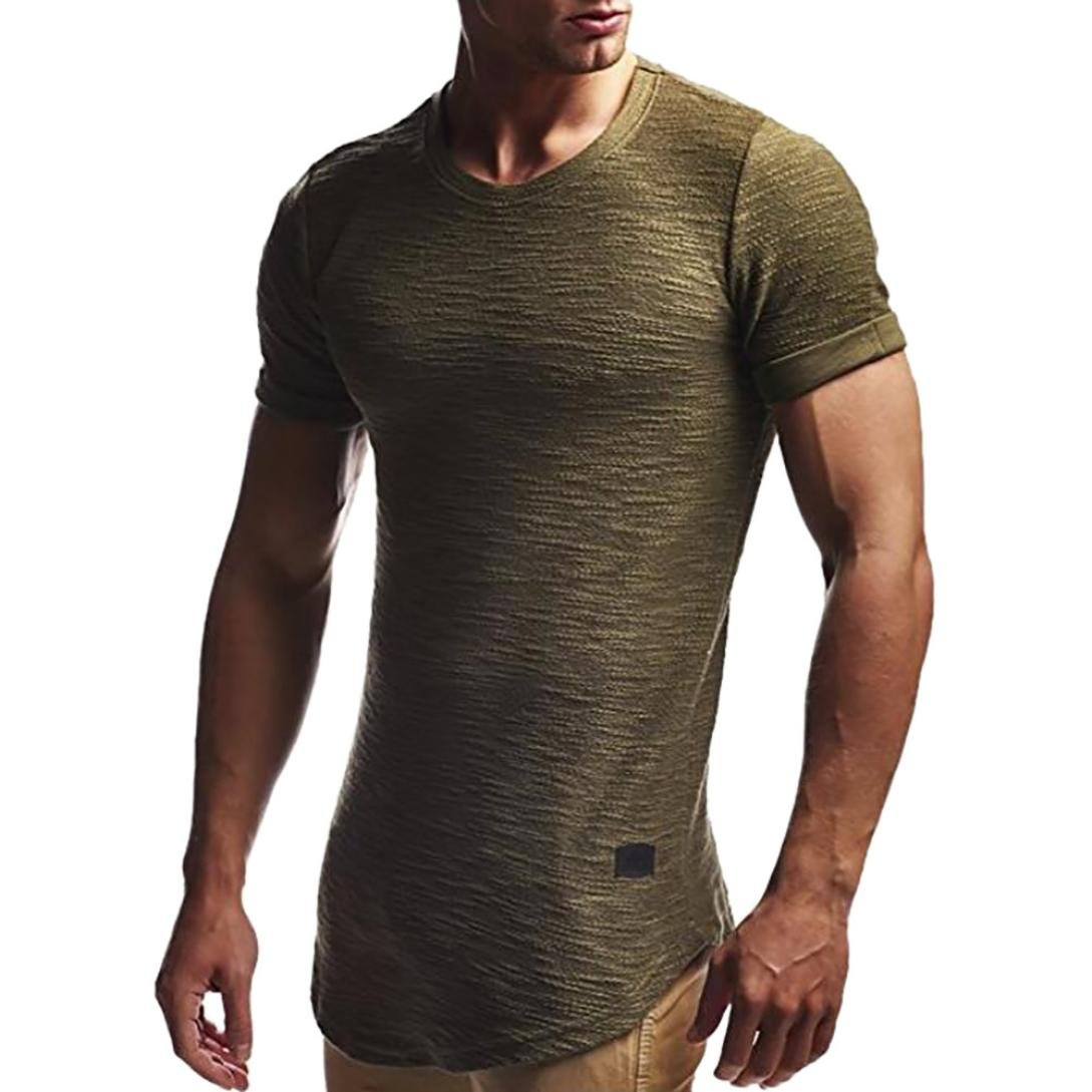 Men Tee Slim Short Sleeve O Neck Muscle Cotton Blend Solid Tops Blouse Shirt Zulmaliu (Army Green, L)
