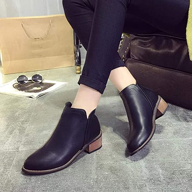 Amazon.com | Sunmoot Faux Leather Ankle Boots Women Fashion Scrub Zipper Pointed Toe Chunky Heels Shoes | Ankle & Bootie