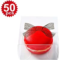 50pcs Clear Bowknot Gold Single Macaron Boxes 2.17 x 2.17 x 1.36 Inch Mini Gift Box for Baby Shower Party Candy Cookie…