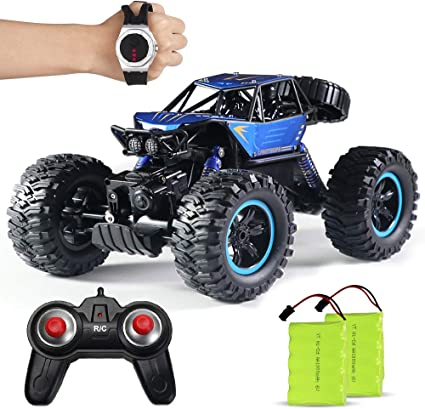 Amazon Com Beebean Remote Control Trucks 1 14 Large Scale Aluminium Alloy Remote Control Car For Boys Gesture Sensoring Rc Cars For Adults Climbing Monster Truck With Wearable Watch Controller Blue Toys Games