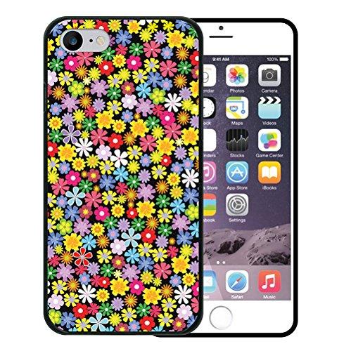 iPhone 8 Hülle, WoowCase Handyhülle Silikon für [ iPhone 8 ] Blumen Handytasche Handy Cover Case Schutzhülle Flexible TPU - Schwarz