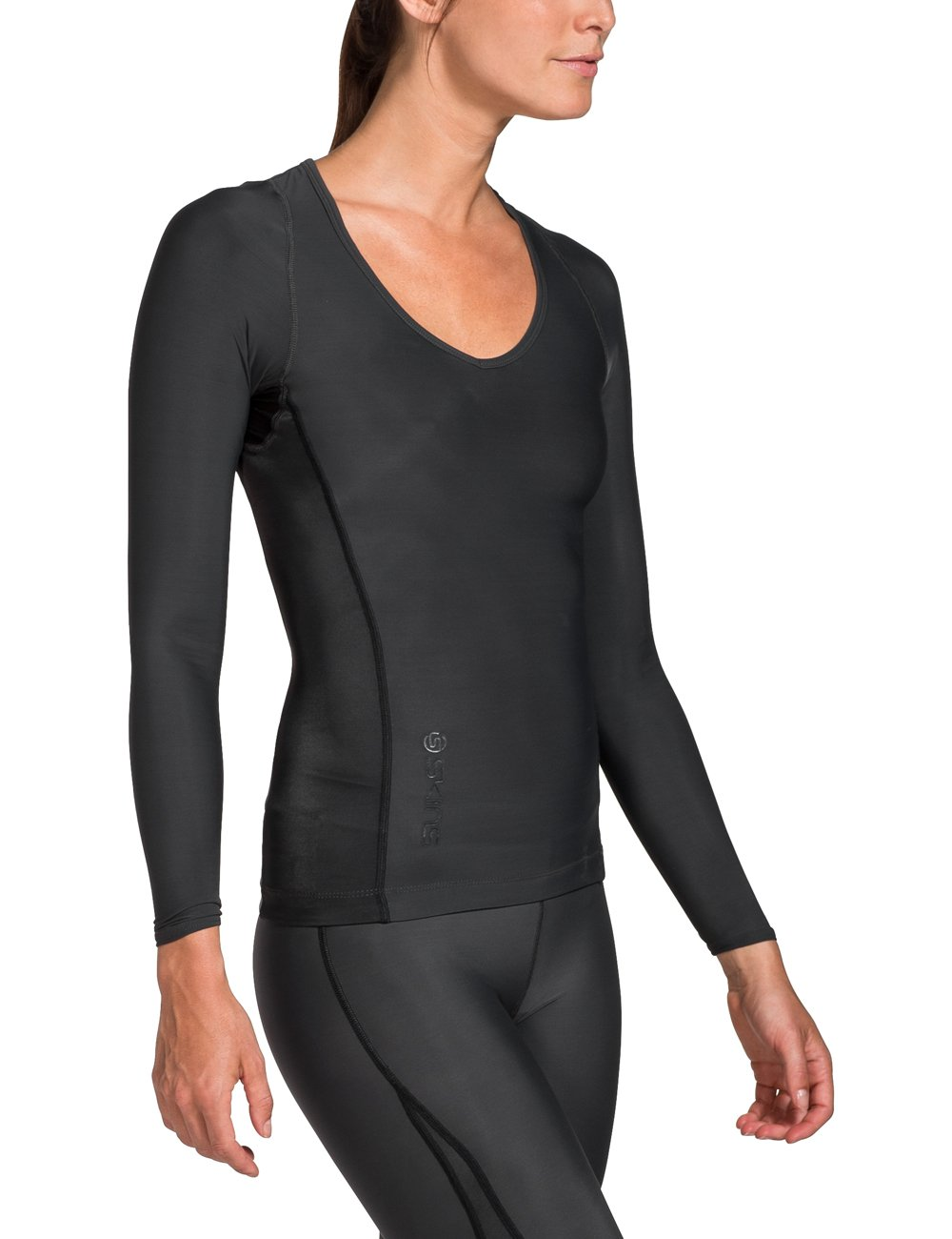 Skins Women's Ry400 Recovery Long Sleeve Top, Black, SmallH by Skins (Image #3)