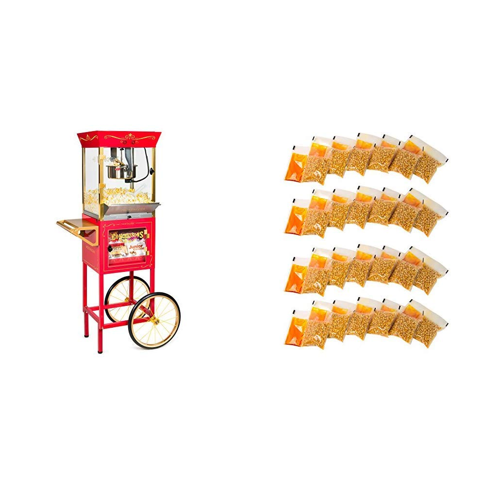 Nostalgia CCP610 Vintage Professional Popcorn & Concession Cart with 24 4-Ounce Premium Popcorn, Oil & Seasonings  Packs