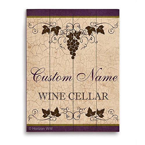Wine Cellar Classic Sign with Grape Vines in Tan